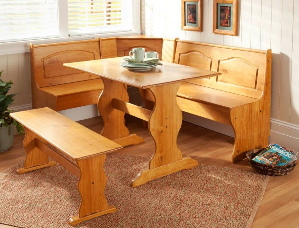 Kitchen Corner Table Set Amazon dining nook solid pine breakfast set in natural finish amazon dining nook solid pine breakfast set in natural finish with traditional styling great for eat in dining kitchens dining room table with three workwithnaturefo