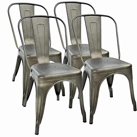 Cool Fdw Metal Dining Chairs Set Of 4 Indoor Outdoor Chairs Patio Chairs 18 Inch Seat Height Metal Restaurant Chair Stackable Chair 330Lbs Weight Capacity Frankydiablos Diy Chair Ideas Frankydiabloscom