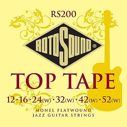 Rotosound RS200 Jazz Monel - Juego de cuerdas para guitarra, entorchado plano, 12-