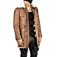 Bane Leather Coat Brown Shearling Trench Leather Swedish Costume
