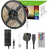 LE 5M Waterproof RGB LED Strip Light Kit, 300 SMD5050 LED Tape with Remote and Power Supply, Dimmable, Colour Changing TV Backlight