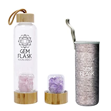 f1c97bc5a4 Amazon.com: GEMFLASK - Bpa Free Crystal Water Bottle - Includes Amethyst  and Rose Quartz Healing Crystals and Stones + Free Neoprene Sleeve & Bamboo  Lid: ...