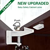 Cabinet Locks Child Proof Latch, QcoQce Easy Install Baby Proof Safety Drawers Latch, Safe Cupboard Locks with Tool Free Installation - Optional Mounting Hardware and Adhesive Included (12 Pack)