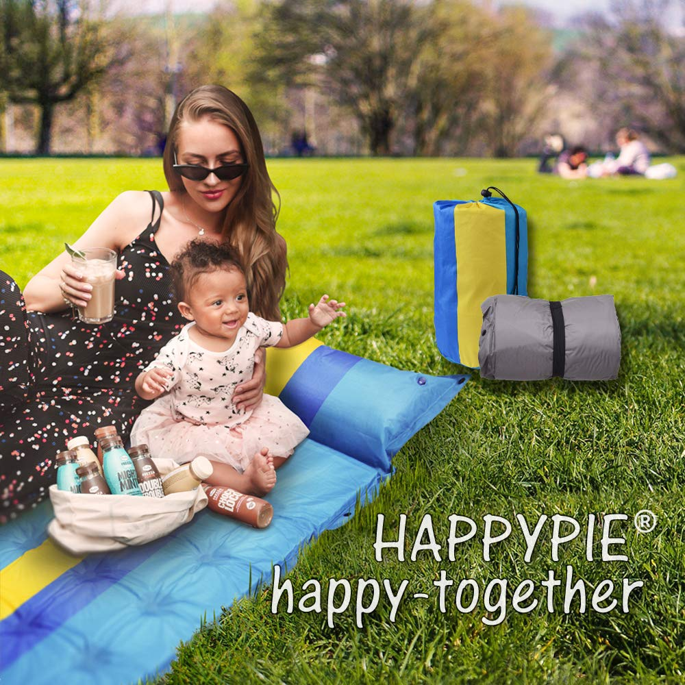 HAPPY PIE PLAY/&ADVENTURE 74.8 x 23.6 Self-Inflating Hiking Camping Mattress Sleeping Pad with Portable Backpack