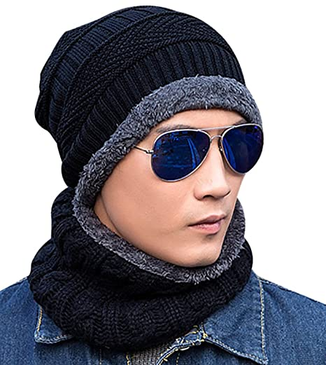 48004373ad8772 Beanie Hat Scarf Set Winter Warm Knit Hat Thick Skull Cap for Men and Women  (