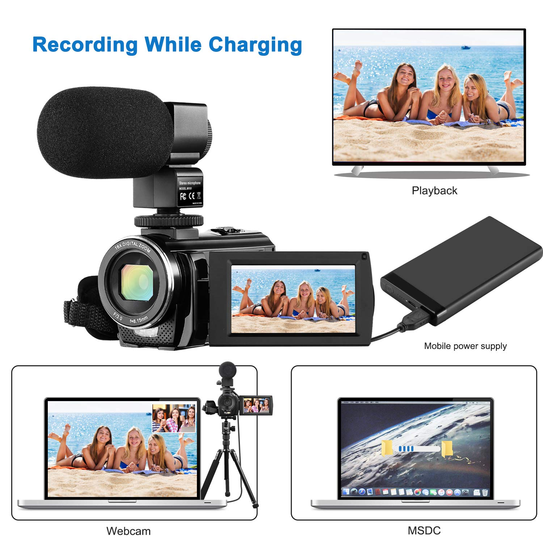 Electronics Wide Angle Lens 4K Camcorder Video Camera Rosdeca ...