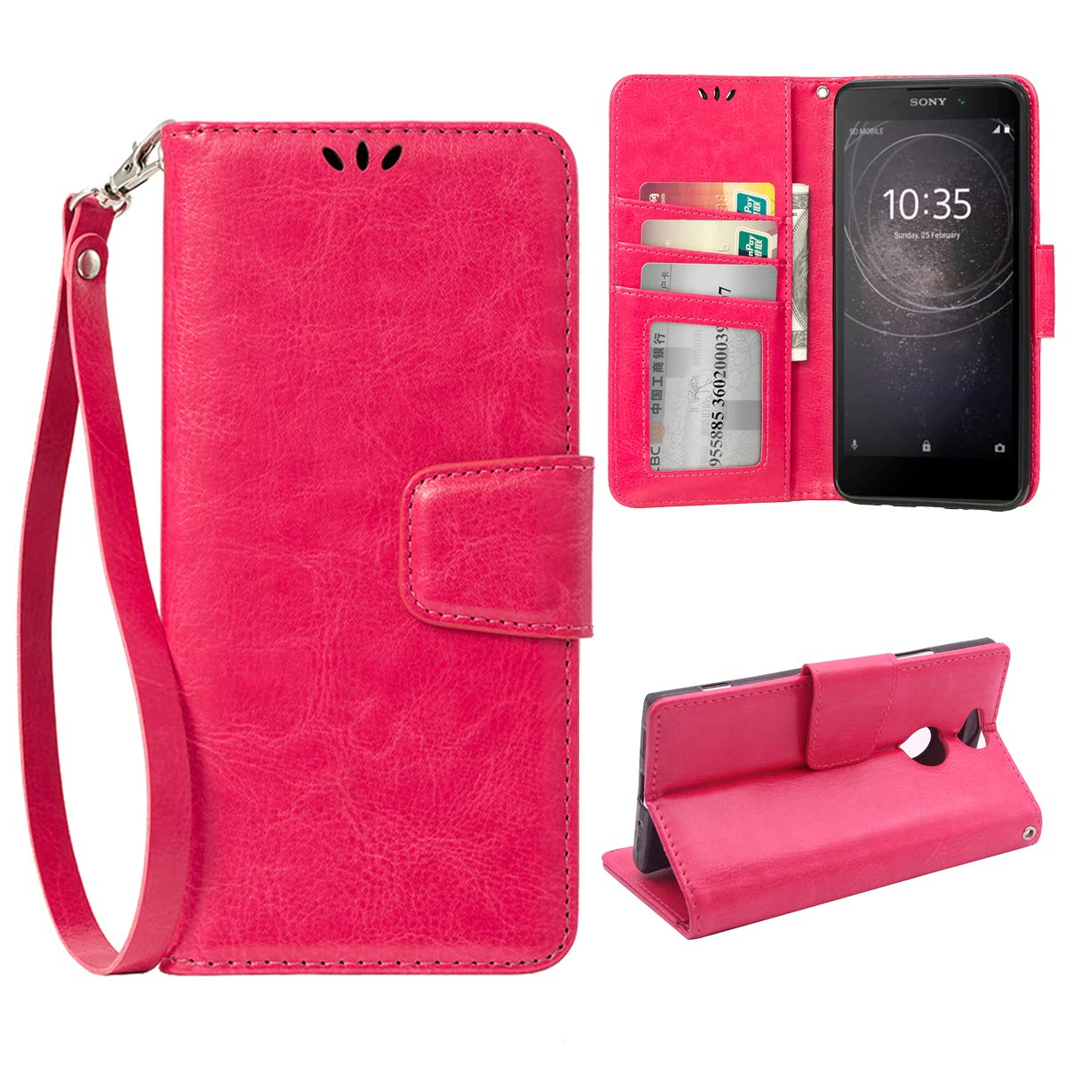 Flip case for Sony Xperia XA2, Scratch-Proof Leather Wallet Stan Cover with Card Slots Cover Phone Case Protector for Sony Xperia XA2, Rose Red