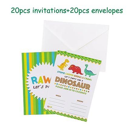 Amazon Com Funnlot Dinosaur Party Invitations For Kids Dinosaur