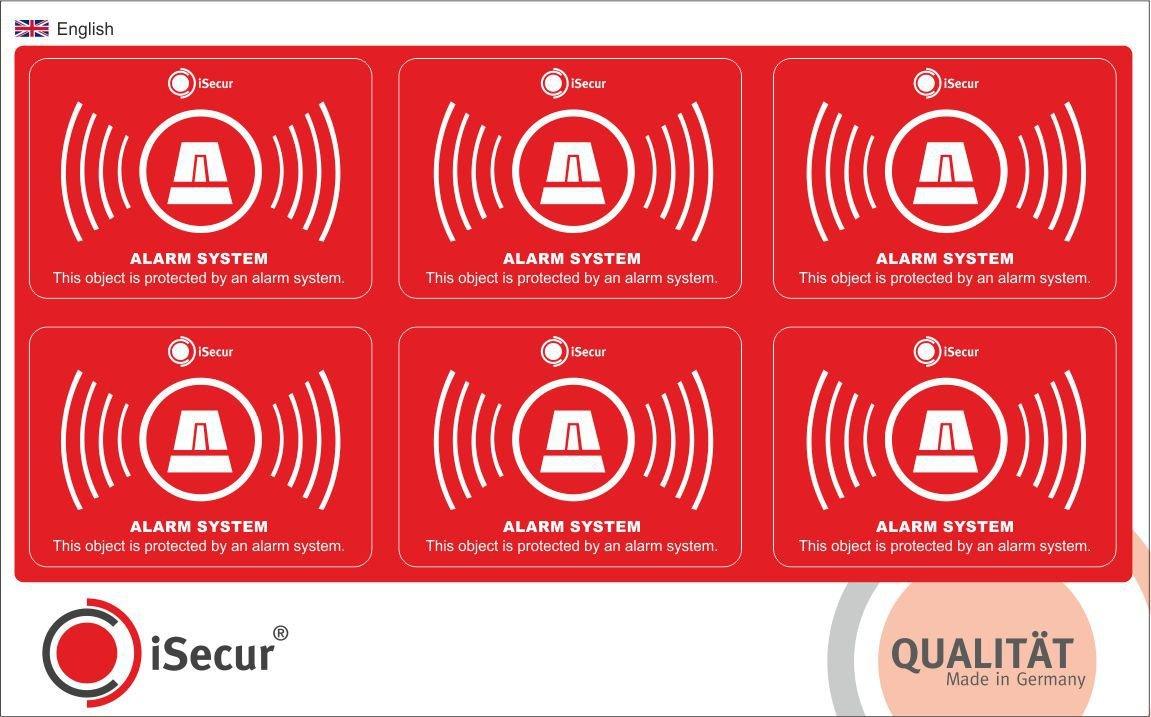 6 Stück Aufkleber Alarm, iSecur®, alarmgesichert, 5x3,5cm, Art. hin_241, Hinweis auf Alarmanlage, außenklebend für Fensterscheiben, Haus, Auto, LKW, Baumaschinen (Englisch)