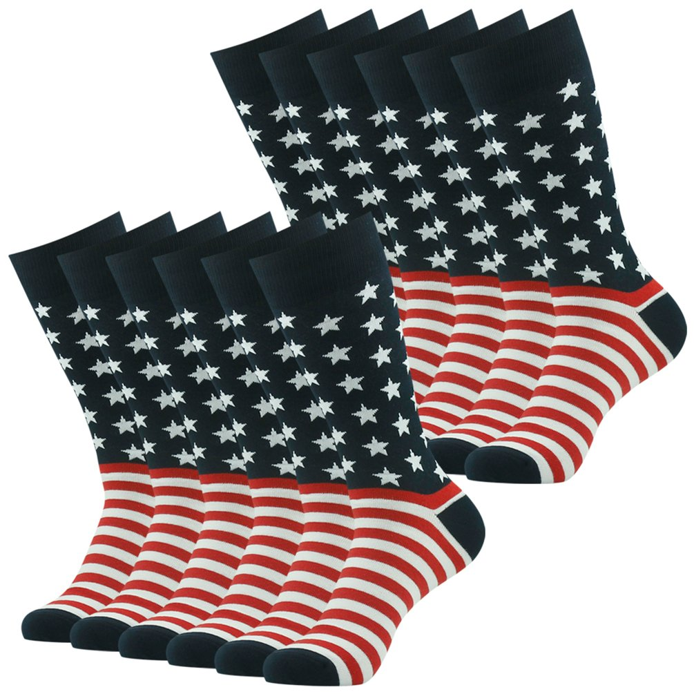 American Flag Socks, SUTTOS Men's Colorful Patriot Dress Socks Fashion Patterned Dress Socks Mid Calf Cotton Crew Dress Sock for Groomsmen Wedding Party Socks Gifts Men Back to School Team Socks,12 Pairs