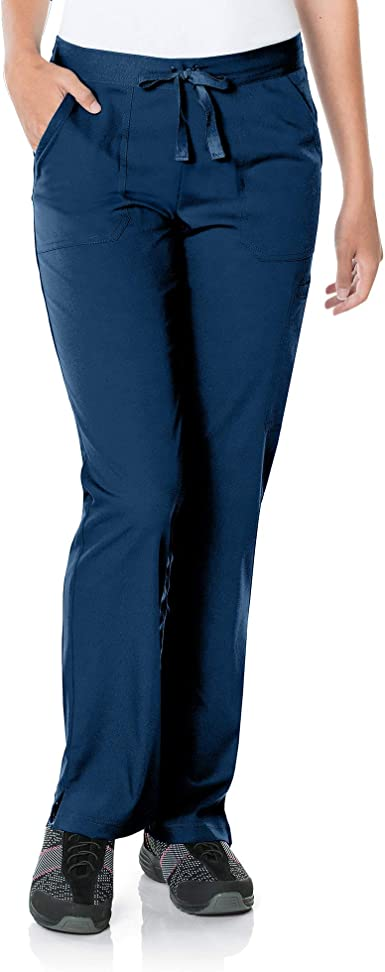Urbane Women's Standard 5-Pocket, Contemporary Slim Fit 50/50 Drawstring Waist Medical Scrub Pants 9329, Navy, XSM