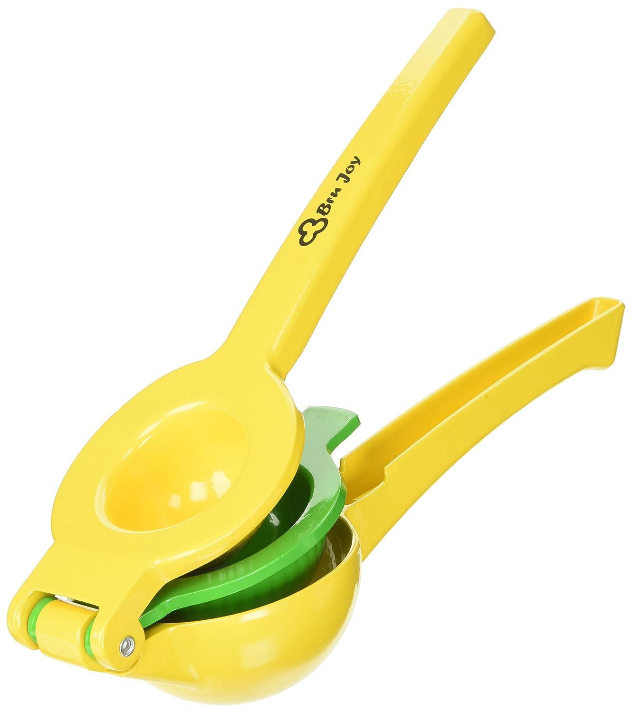 Bru alegría esmaltado cuenco doble de aluminio Exprimidor de limones, color amarillo y verde: Amazon.es: Hogar