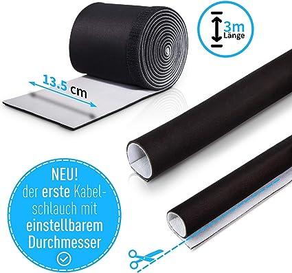Wertmann Gaine flexible pour c/âble Protection de c/âble en n/éopr/ène noir et blanc 3m noir//blanc 3 m x 13,5 cm C/âble flexible - C/âble de gestion