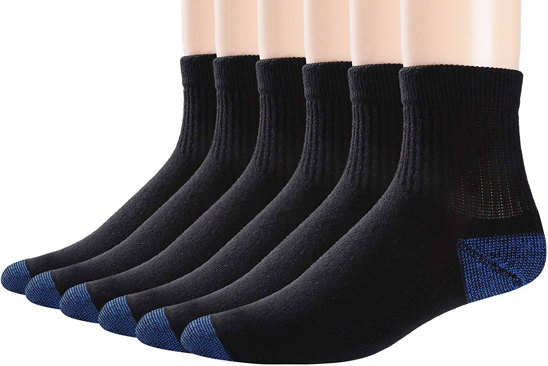 Blackbluee 6pair Tkivod Women's 6 Pack Cotton Cushion Rib Quarter Socks  Athletic Running Ankle Soxs