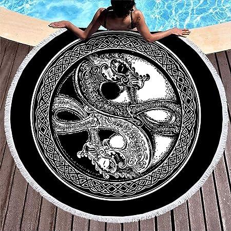 Unicolor Wikinger dragón círculo nudos tatuaje impresión ronda ...