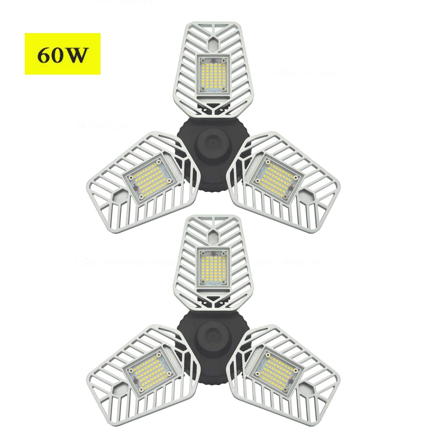 LED Garage Light, 60W 5000K Day Light LED Garage Ceiling Light, 6500Lm LED Garage Lights CRI 80 Garage trilight with 3 Deformable Panels,Led Shop Light (60W Ordinary Version 2 Pack)