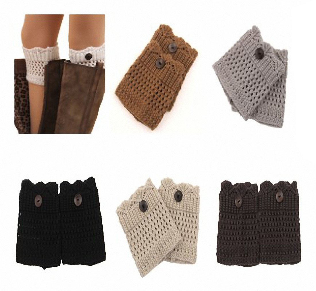 6 Pack Women Girls Short Crochet Knit Hollow Leg Warmers Boot Socks Topper Cuffs, Assorted