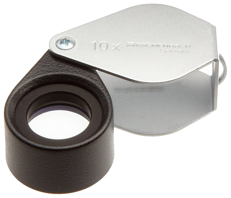 Lupa plegable de metal [Eschenbach [Eschenbach [Eschenbach 118410] Lente acromática hecha de sílice de alta calidad, Dimensiones Lente: Ø 15 mm, Aumento: 10x 1aa774