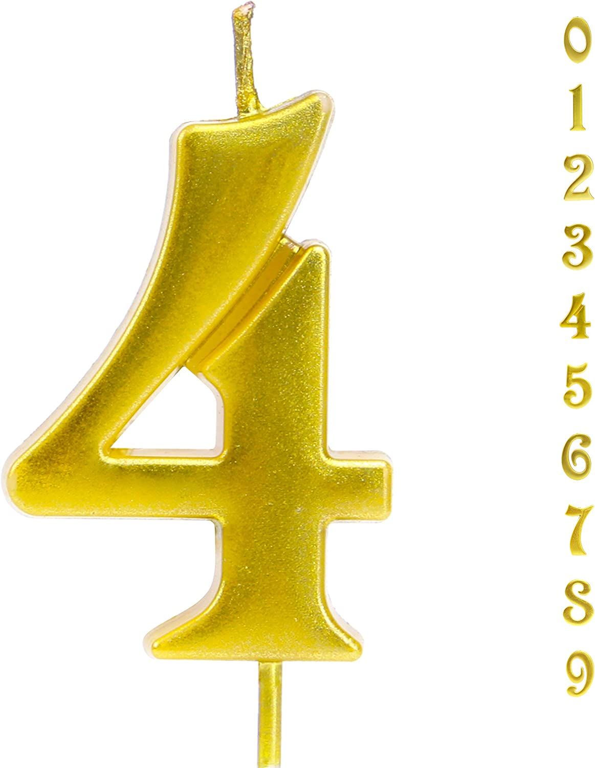 Gold 4 Birthday Candle with Food Safe PP Plastic Stick, 3.75