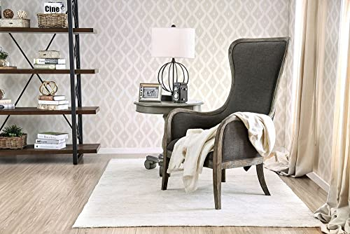 William s Home Furnishing Charlottestown Chair Ottoman Sets, Gray