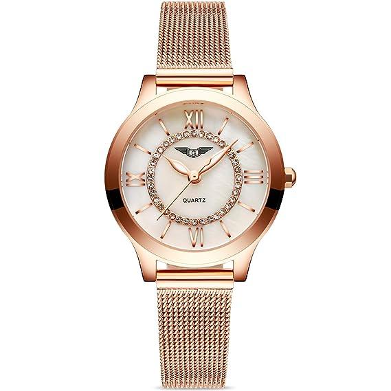 RORIOS Moda Lujo Mujer Relojes de Pulsera Acero Inoxidable Band Diamante Simulado Dial Relojes de Mujer Impermeable: Amazon.es: Relojes