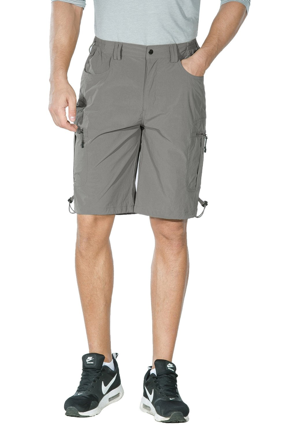 Nonwe Men's Quick Dry Outdoor Hiking Cargo Shorts 5005 Light Gray L