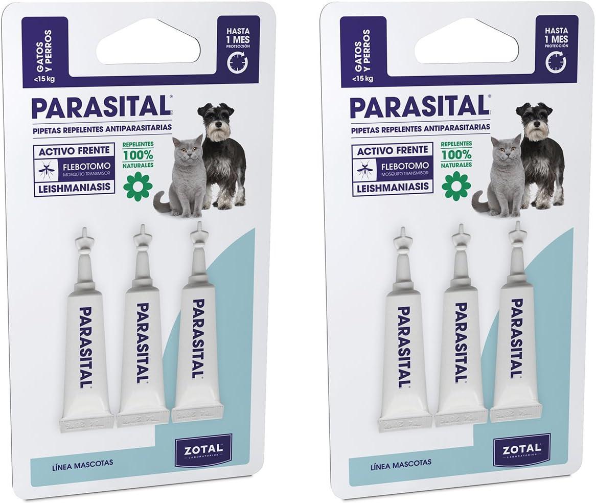 Parasital Pipetas Antiparasitarias para Perros Pequeños y Gatos de hasta 10 kg - Pack de 6x1,25ml de Zotal - Activo Contra Leishmaniasis y demás Mosquitos, Pulgas y Garrapatas - Repelente 100% Natural