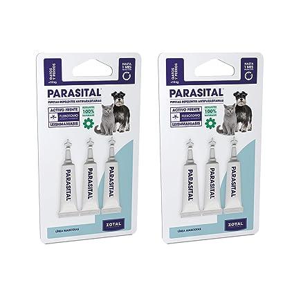Parasital Pipetas Antiparasitarias para Perros Pequeños y Gatos de hasta 10 kg - Pack de 6x1,25ml de Zotal - Activo Contra Leishmaniasis y demás ...