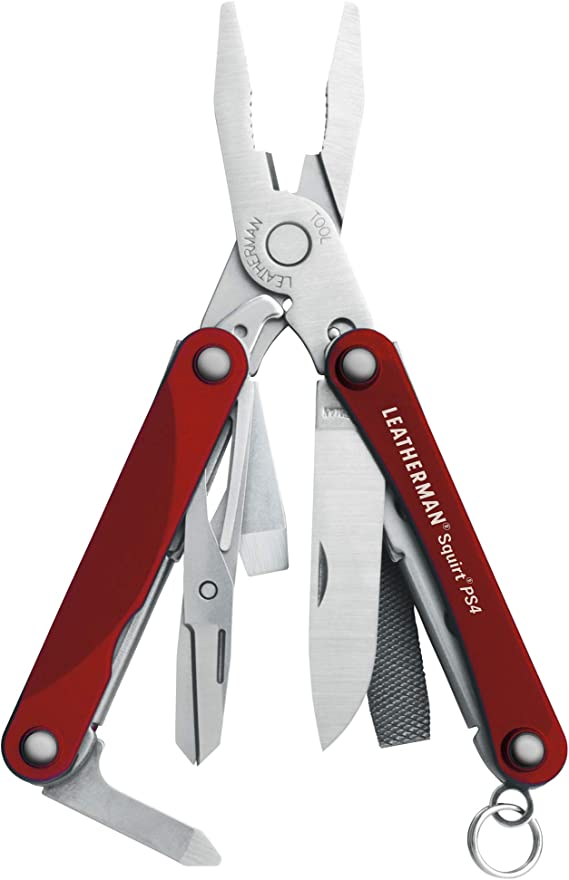 LEATHERMAN - Squirt PS4 Keychain Multitool with Spring-Action Scissors and Aluminum Handles