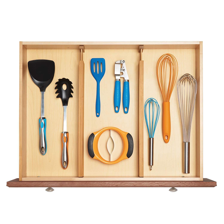 Barbieya Kitchen Drawer organizers Spring ajustable & EXPENDABLE cajón divisores, de 100% BIO de bambú - Mejor para cocina, cómoda, Dormitorio, Baby cajón, ...