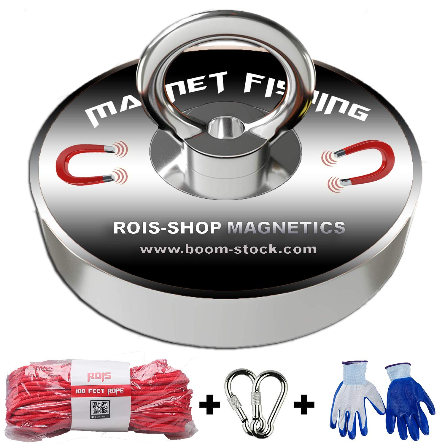 Super Strong Fishing Magnet 1200 Pound with Rope Kit and Protection Gloves | Rope Over 2000 Pound Strong | Magnet 544 Kilogams Pull | Neodymium Rare Earth Magnet 4.21 Inch(107mm) for Magnet Fishing by ROIS-SHOP