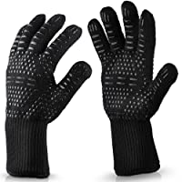 BBQ Grill Gloves 932°F Extreme Heat Resistant Oven Mitts,Cooking Glove 100% Cotton,Barbecue Gloves,Oven Gloves and Baking Gloves