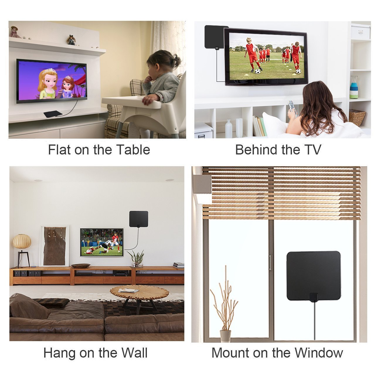TV Aerial HDTV Antenna, 50 Miles Range Indoor Ultra-Thin Amplified Window Aerial for Digital Freeview and Analog TV Signals+Built-in Amplifier Silver Paddle+Detachable Amplifier Digital Signal Booster