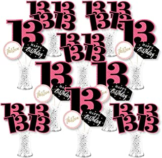 product image for Big Dot of Happiness Chic 13th Birthday - Pink, Black and Gold - Birthday Party Centerpiece Sticks - Showstopper Table Toppers - 35 Pieces