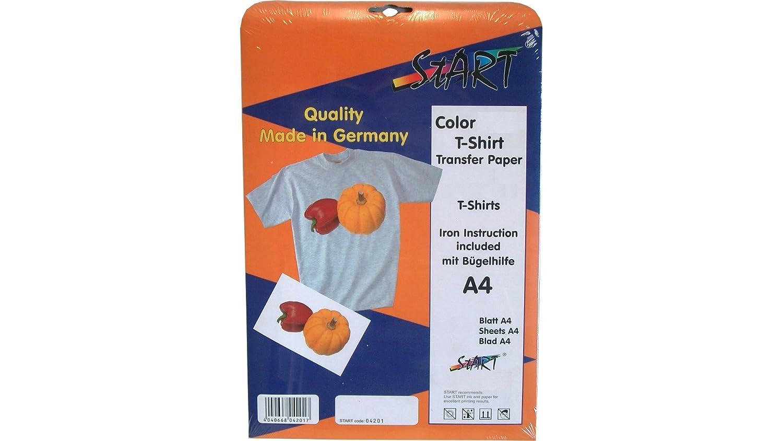 Start-Europe - Pellicola per stampa su stoffa chiara, per stampante a getto d'inchiostro, formato A4, 10 fogli