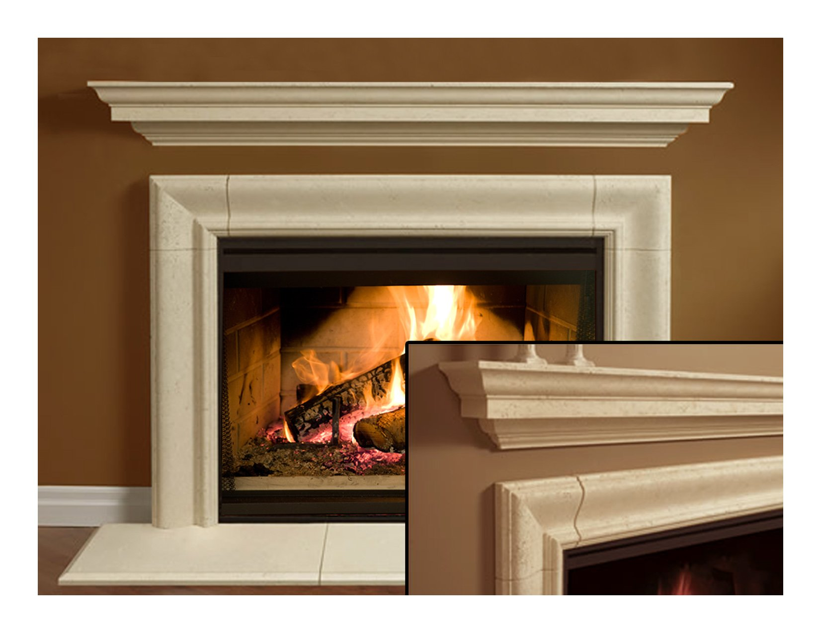 Wellington Thin Cast Stone Adustable Fireplace Mantel Kit - Complete Kit includes hearth by Cast Stone Mantel America