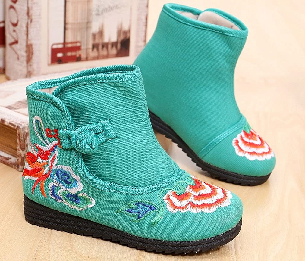 Tianrui Crown New Girls Sun Flower Embroidery Frog Cheongsam Short Boots Shoes Toddler//Kid