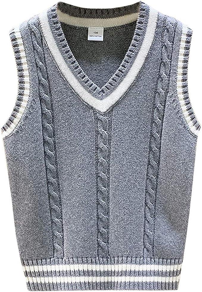Aislor Kids Boys Sleeveless V Neck Stripes Lace Sweater Knitwear Vest Top for Autumn Casual Wear School Uniform