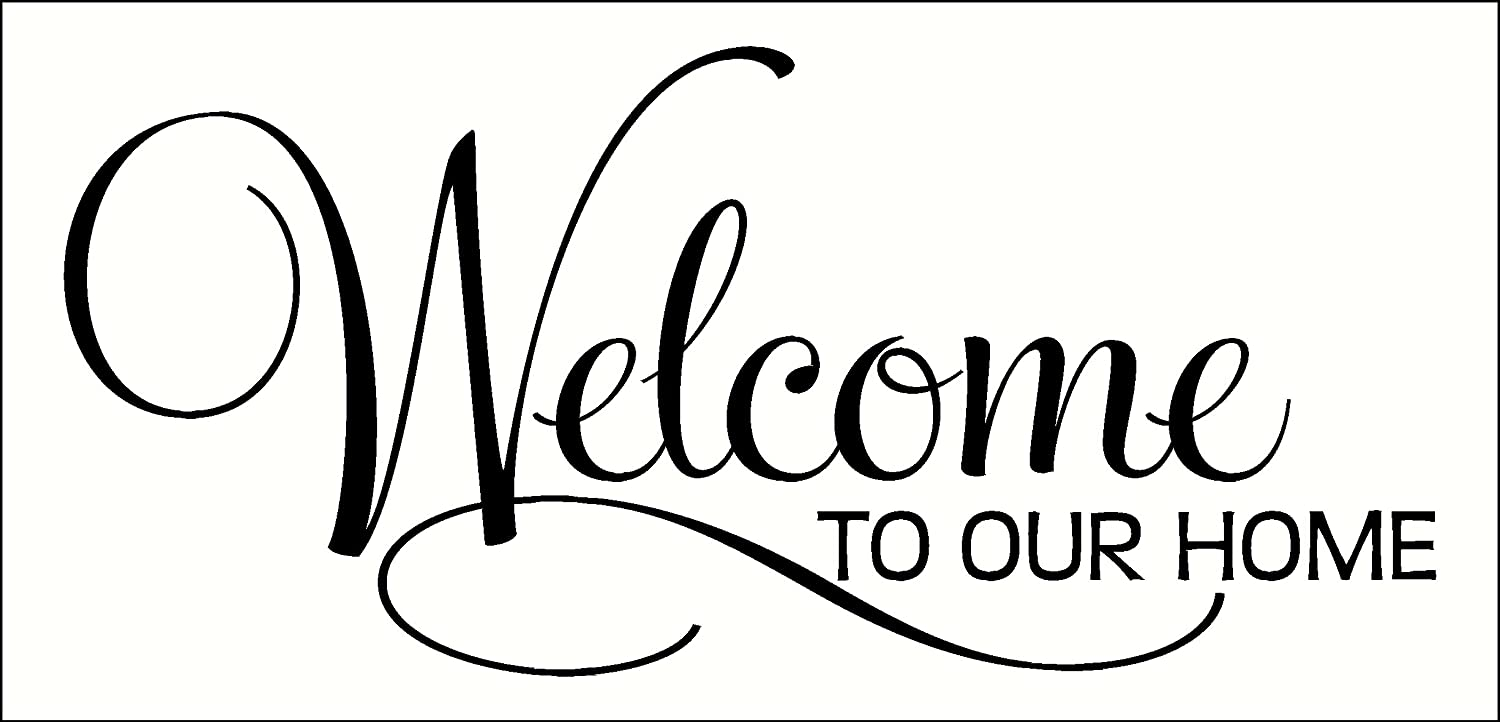 Wall Decor Plus More Welcome To Our Home Vinyl Wall Decal for Entryway Decor 12x5.5 Inch Black
