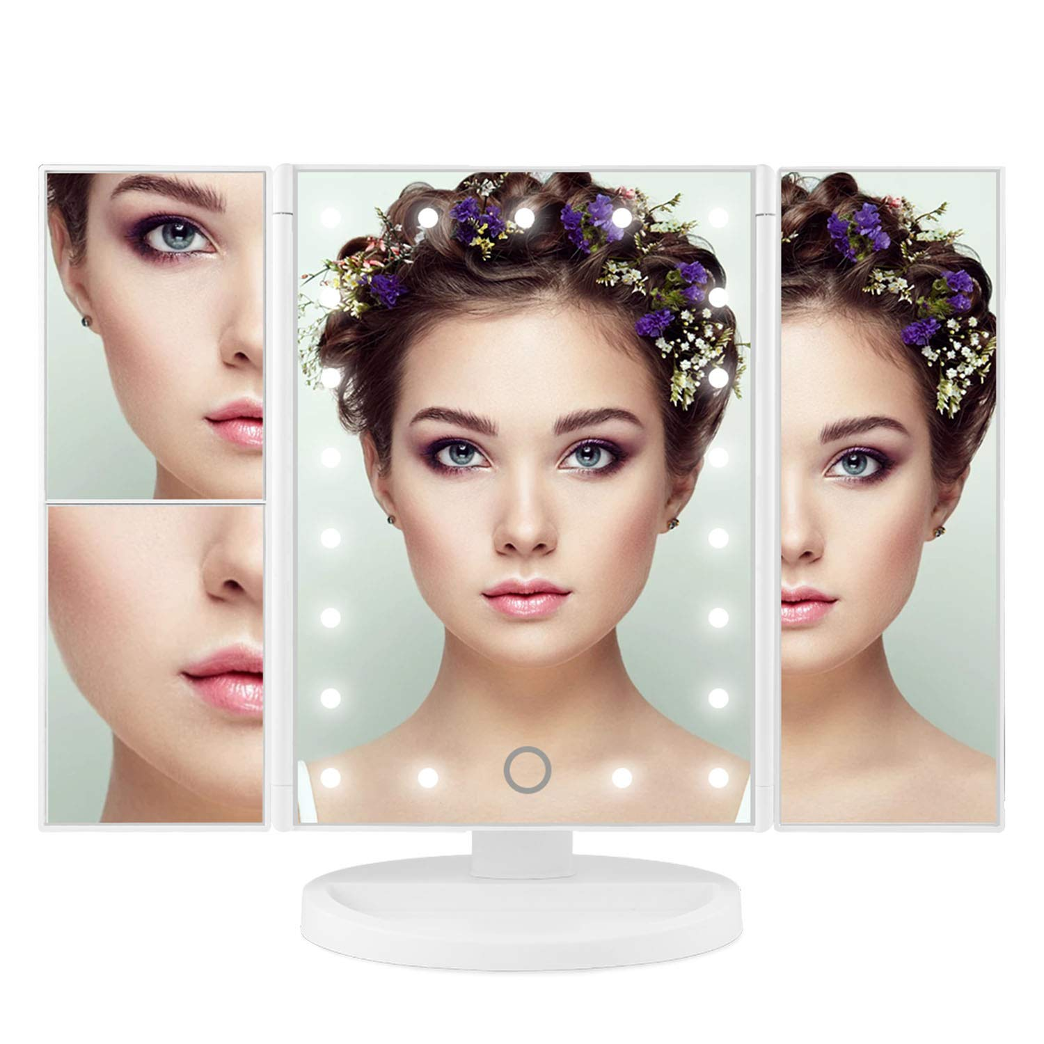 Vanity Makeup Mirror, ISASSY Trifold 21 Led Lighted with Touch Screen, 1x/2x/3x Magnification, 180° Adjustable Stand for Women Men Girls Cosmetic Makeup by ISASSY