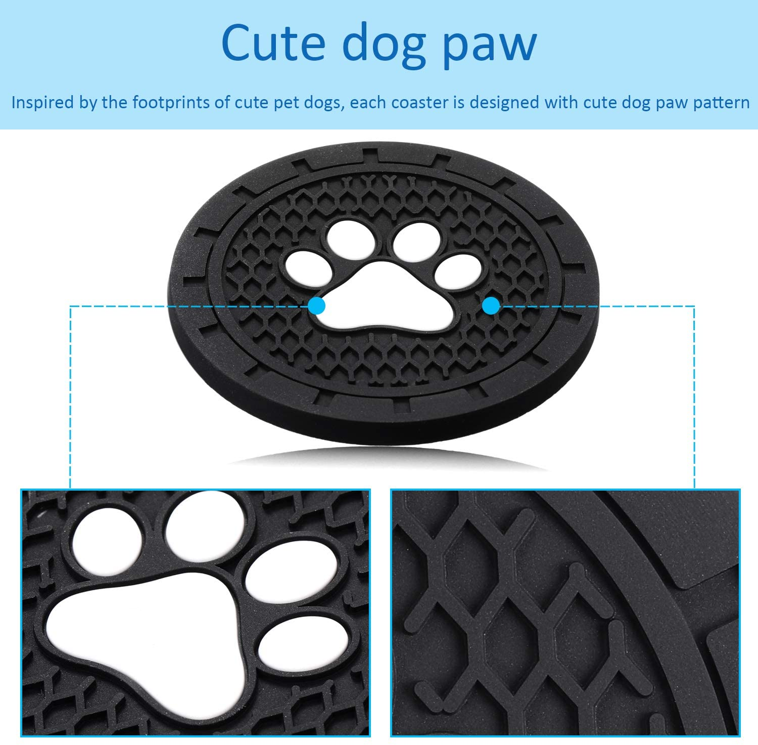 Trucks 2.75 Inch Boao 4 Packs Car Cup Holder Coasters Silicone Anti Slip Dog Paw Coaster Insert Coasters Mat Accessories for Most Cars RVs and More