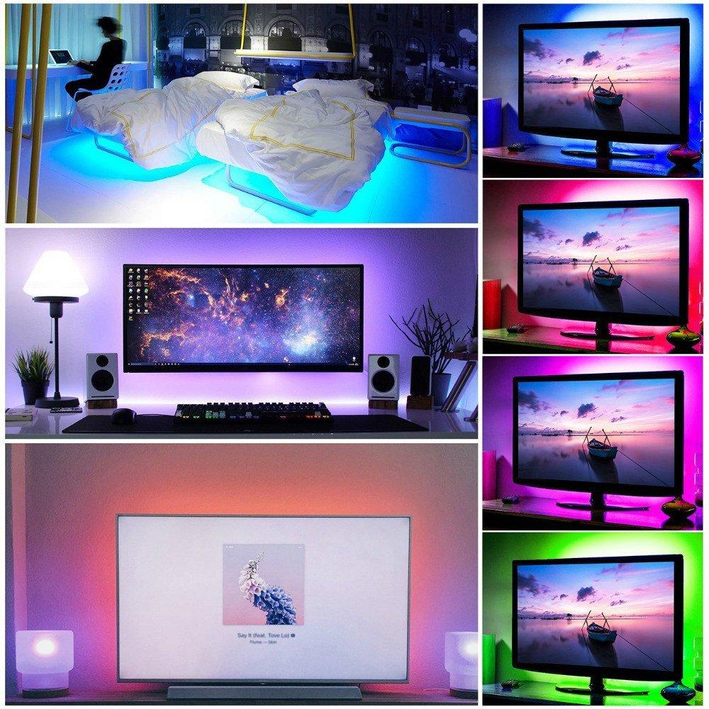 USB RGB LED tira de luz,5V 5 metros 300leds 5050 Tira de luz suave coloreada,colorido Luz de fondo de TV con 24 teclas de control remoto IR, DIY Decoración ...