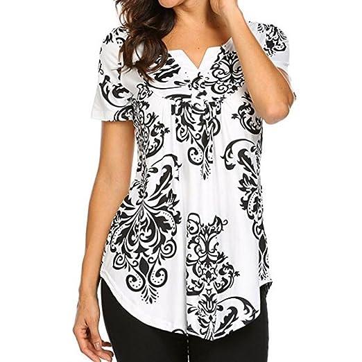 2cc096461c1 Amazon.com  Clearance 2018 Summer Women Floral Print Short Sleeve V Neck  Boho Casual Tunic Blouse T-Shirt Tops  Clothing