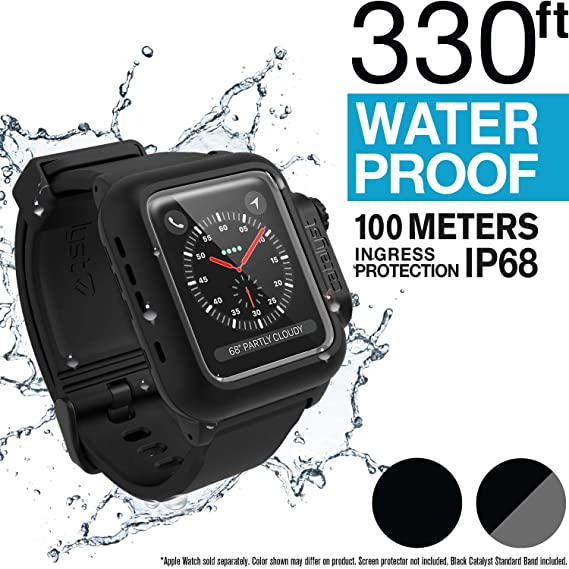 cheaper 495dd 068aa Waterproof Apple Watch Case 42mm Series 2 & 3 with Premium Soft Silicone  Apple Watch Band by Catalyst, Shock Proof Impact Resistant [Rugged iWatch  ...
