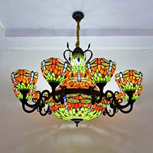 Large Tiffany Style Stained Glass 10 Arms Blue Dragonfly Composite Chandelier, 20 Inches Inverted Pendant Light for Living Room,8 Inches Green Crystal Beads Glass Lampshade Ceiling Light