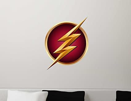 The Flash Symbol Logo Gift Repositionable Wall Graphic Decal Sticker - CW TV Superhero Crime- & Amazon.com: The Flash Symbol Logo Gift Repositionable Wall Graphic ...