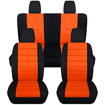 Jeep Wrangler Seat Covers >> Amazon Com 2011 2017 Jeep Wrangler Jk Seat Covers Black Orange