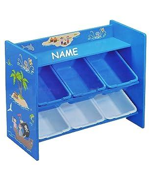 Kinderregal mit 6 Aufbewahrungsboxen für Kinder aus Holz incl ...