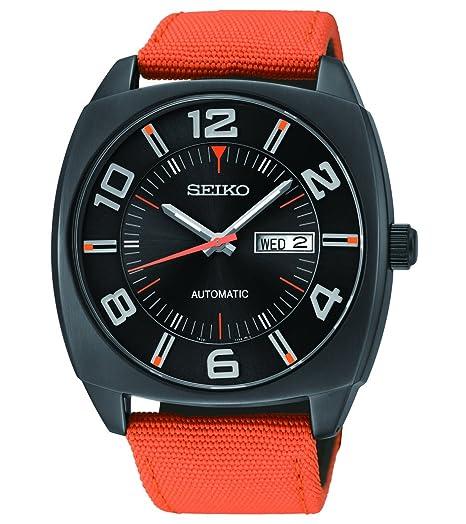 Seiko SNKN39 - Reloj de pulsera automático de la serie Seiko Recraft, esfera de PVD de 43,5 mm y color negro, correa de tela color naranja: Amazon.es: ...
