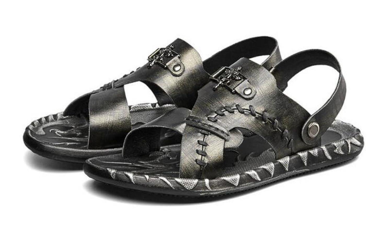 MUYII Herren Leder Strandschuhe Freizeit Ziehen Auf Auf Auf Sandalen Pantoffel Im Freien Wasser Zehenkappe Schuhe  7f6d86